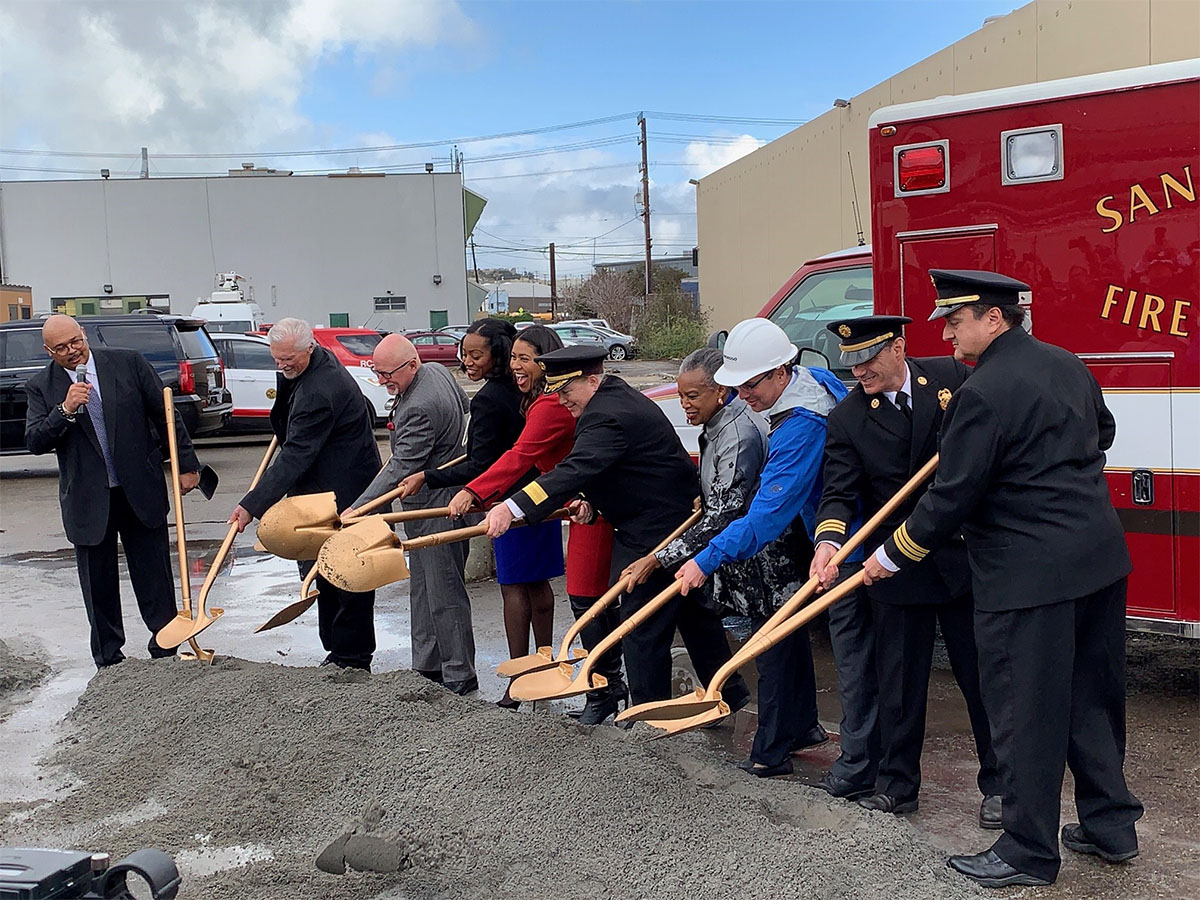 Mayor London Breed and community leaders at the groundbreaking of the new Ambulance Deployment Facility.