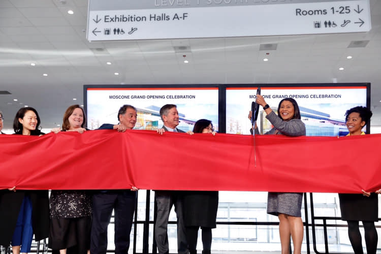Mayor London Breed and partners cut the ribbon for the celebration of the completion of the Moscone Expansion Project.