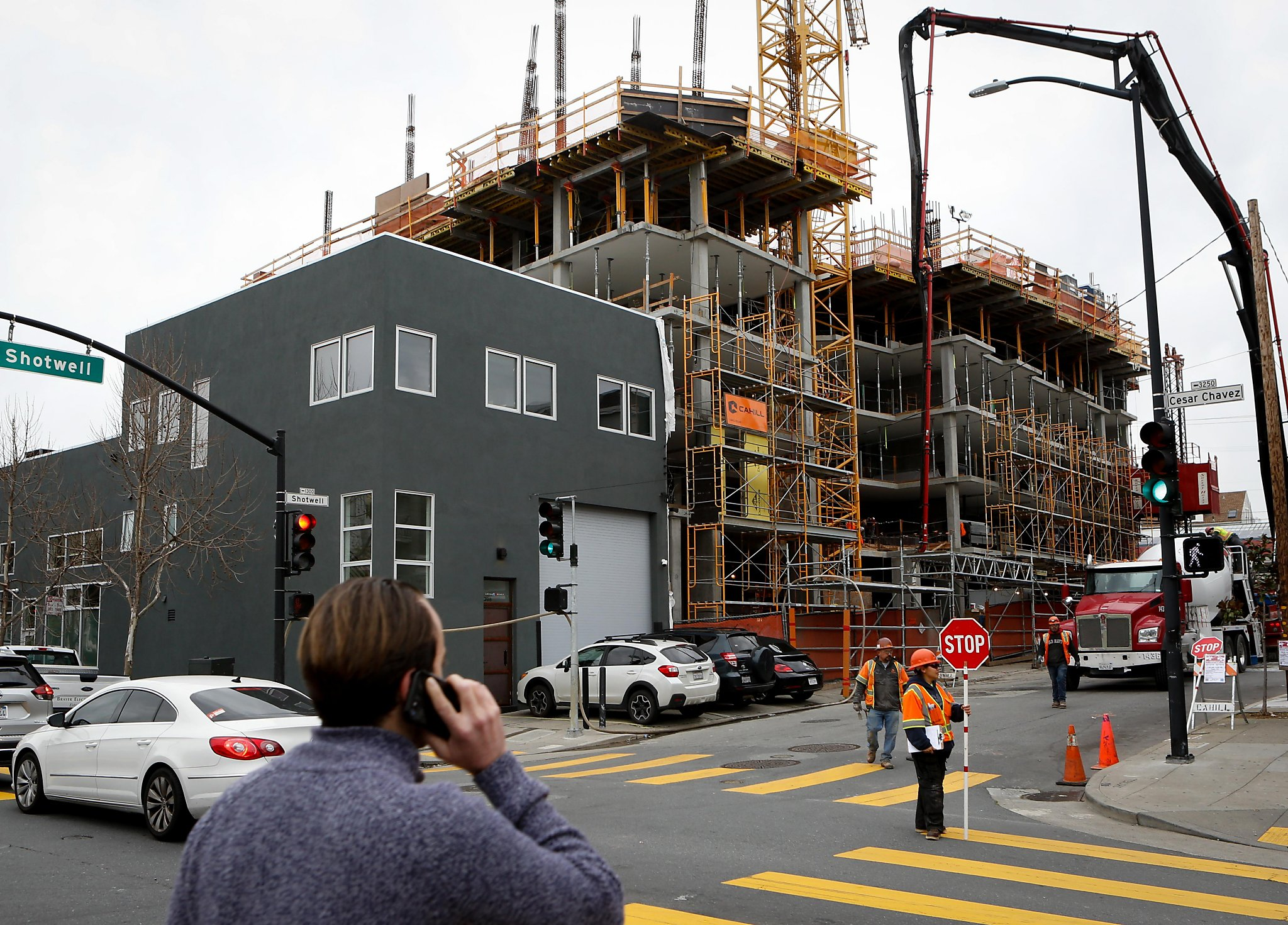 An affordable housing building under construction at Cesar Chavez and Shotwell streets.