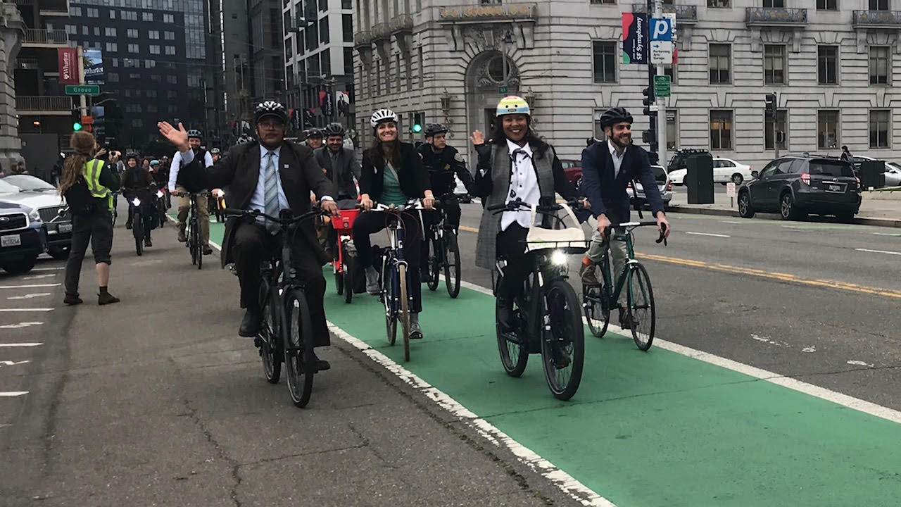 Mayor Breed at Bike to Work Day 2019