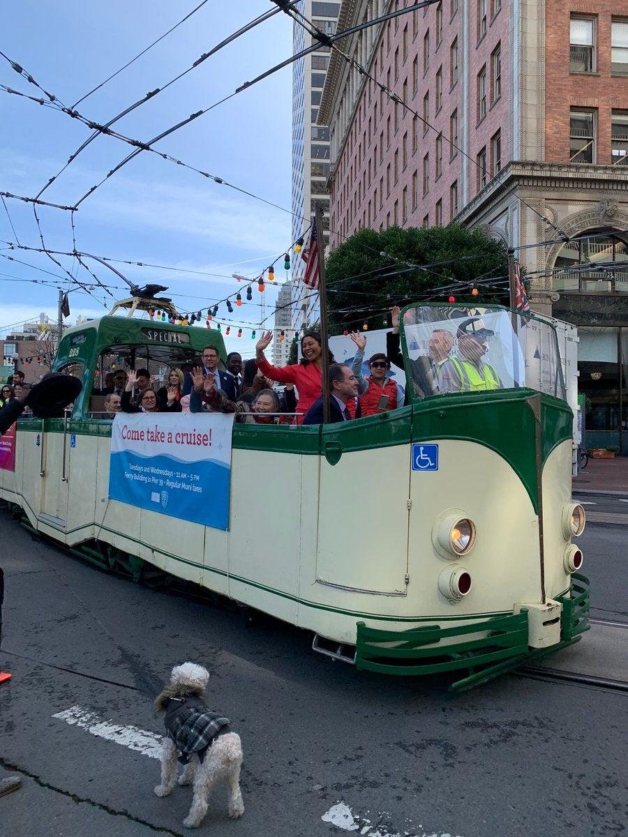 Mayor Breed on Boat Tram on Market Street