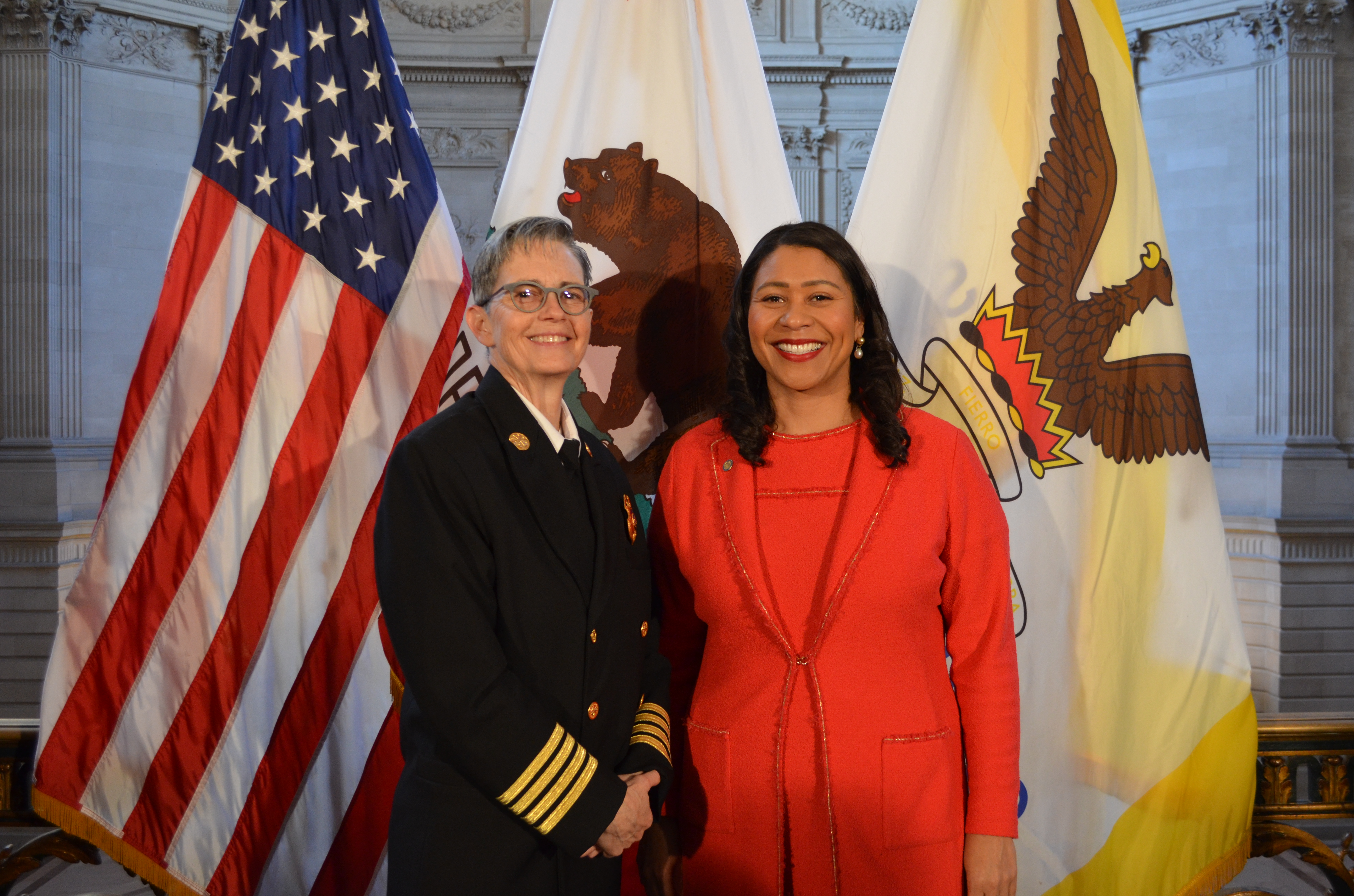 Newly announced Fire Chief Jeanine Nicholson and Mayor Breed