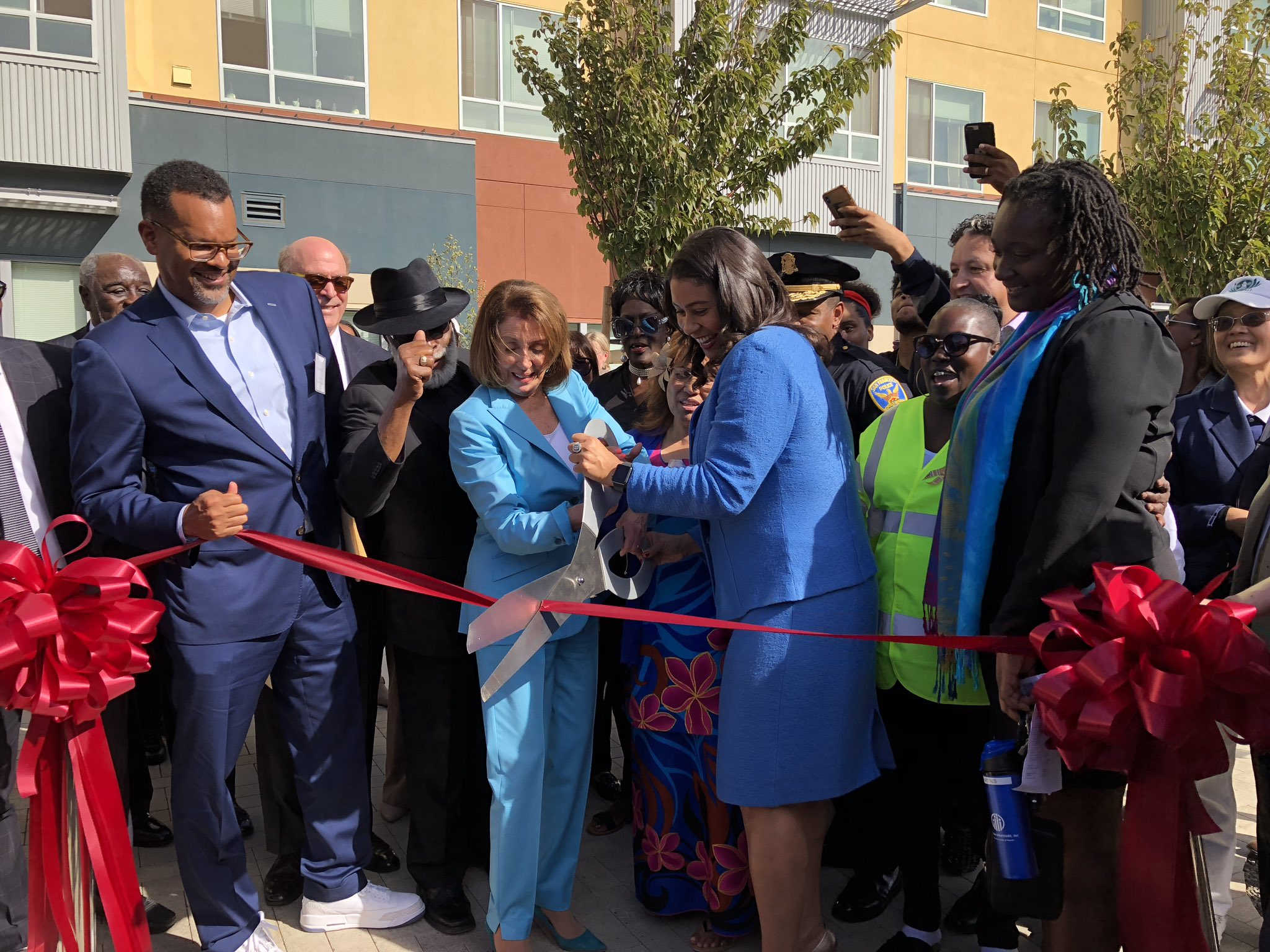 Mayor London Breed and Leader Nancy Pelosi celebrating the grand opening of the revitalized Alice Griffith community