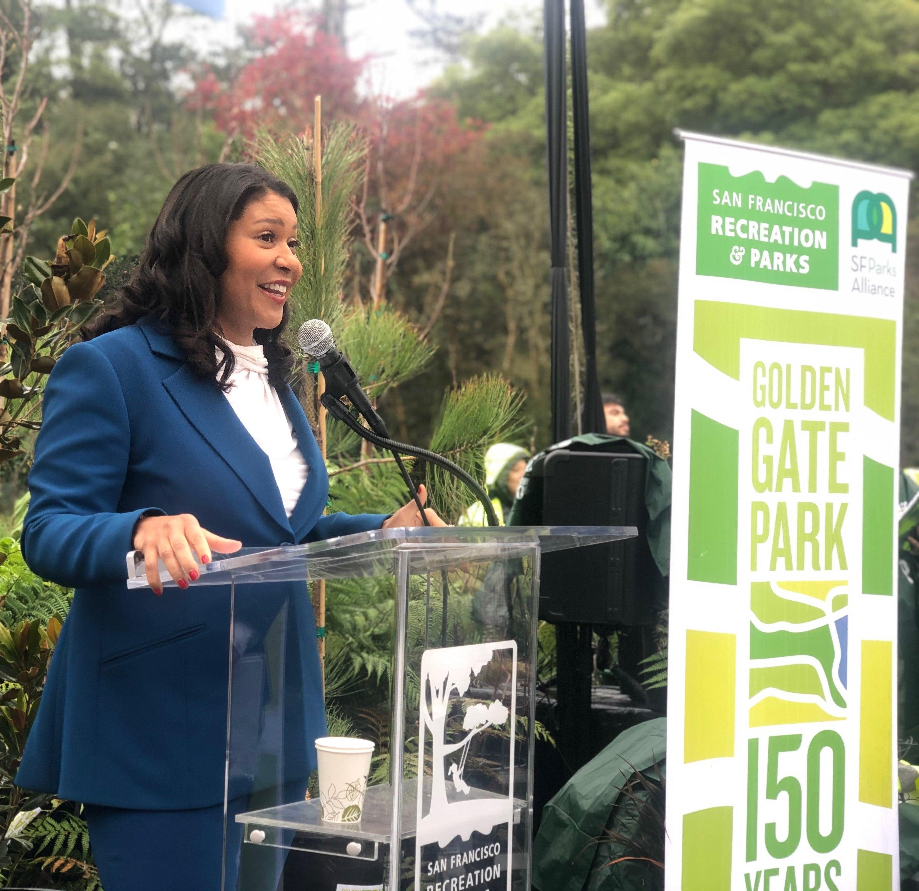 Mayor Breed speaking at Golden Gate Park 150th Anniversary Celebration Kick-Off