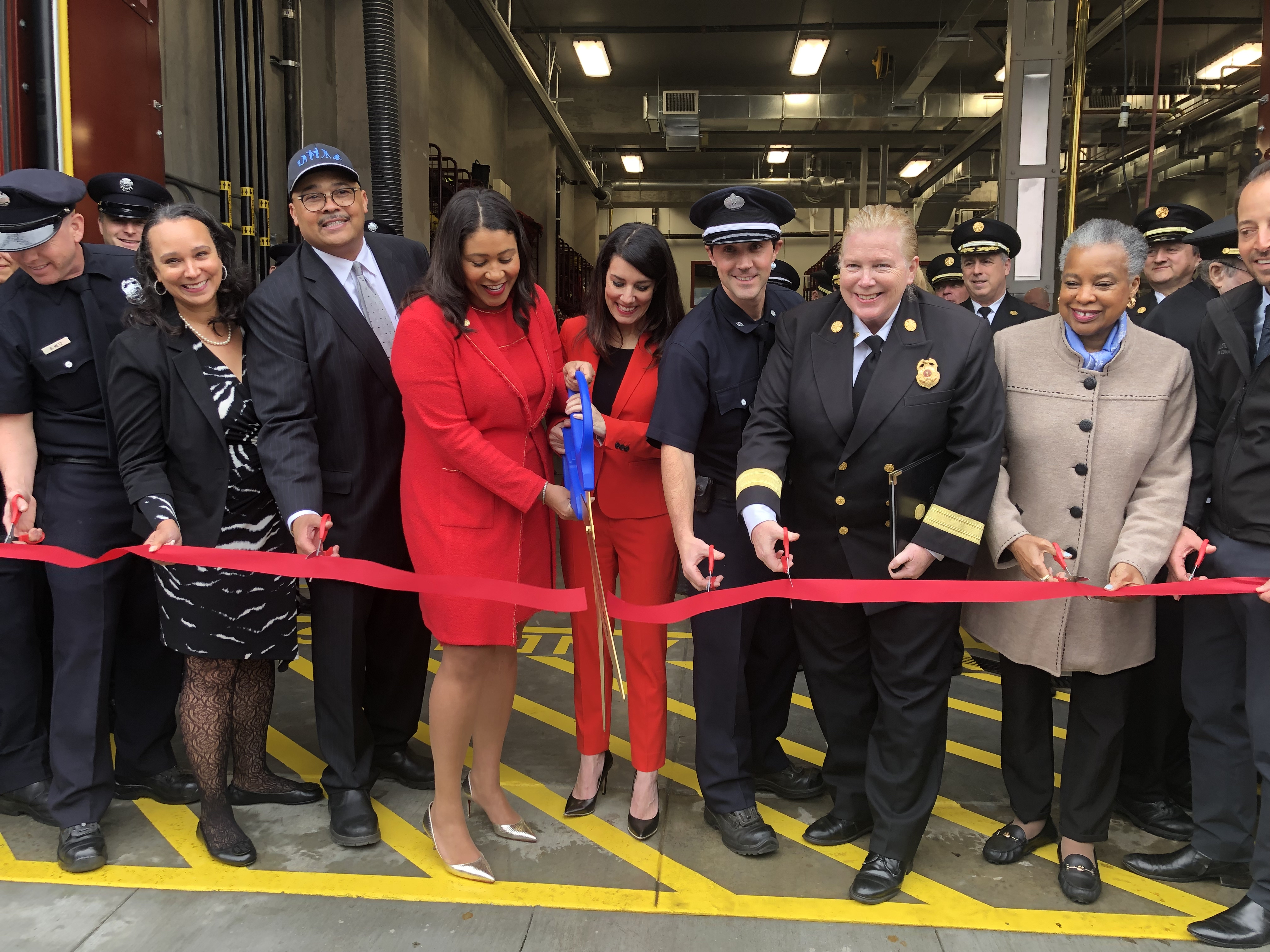 Mayor London Breed joins Supervisor Catherine Stefani and City Officials for the ribbon-cutting of newly retrofitted Fire Station No.16.