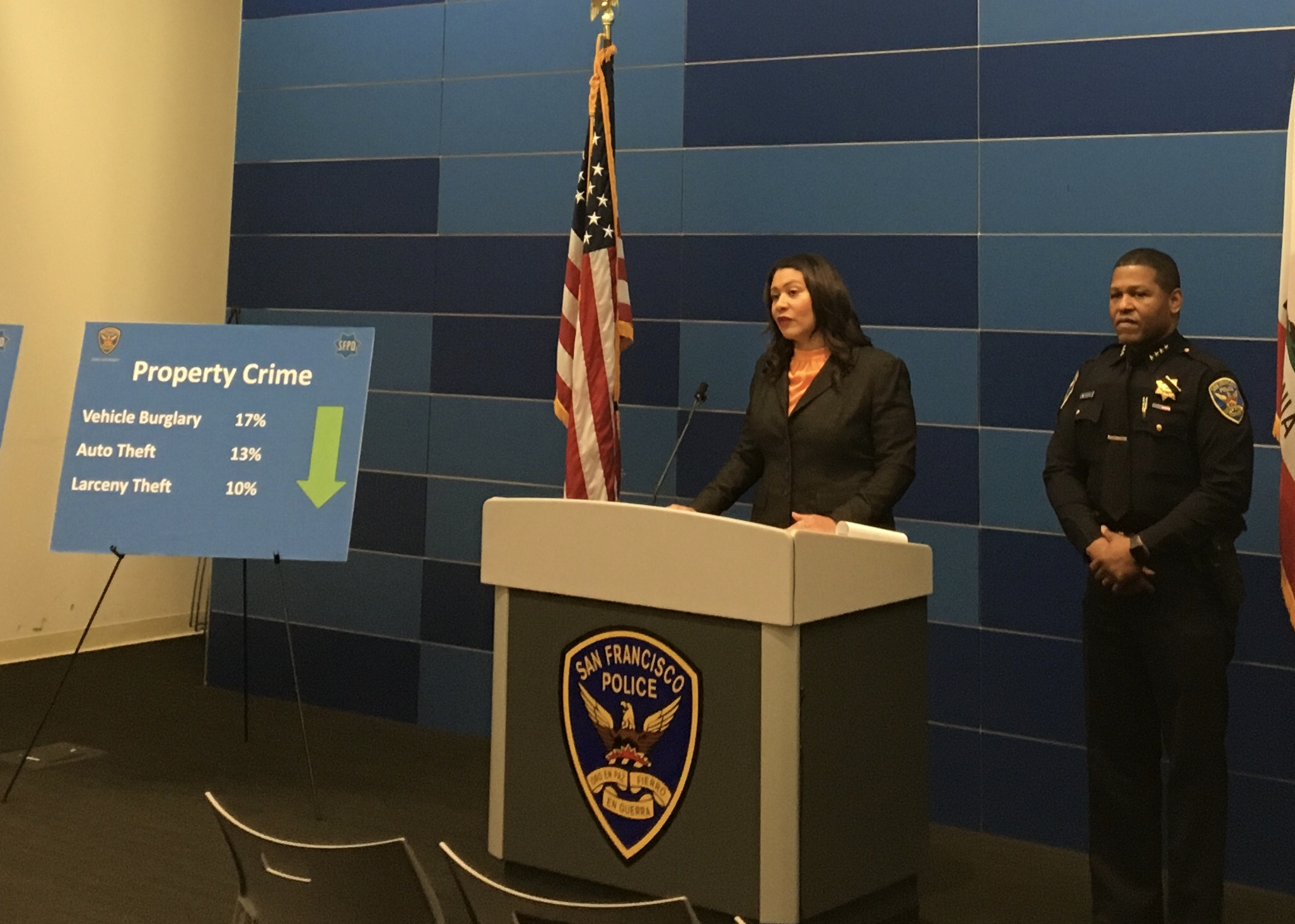 Mayor London Breed with SFPD Chief for 2018 End-of-Year Stats Annoucement