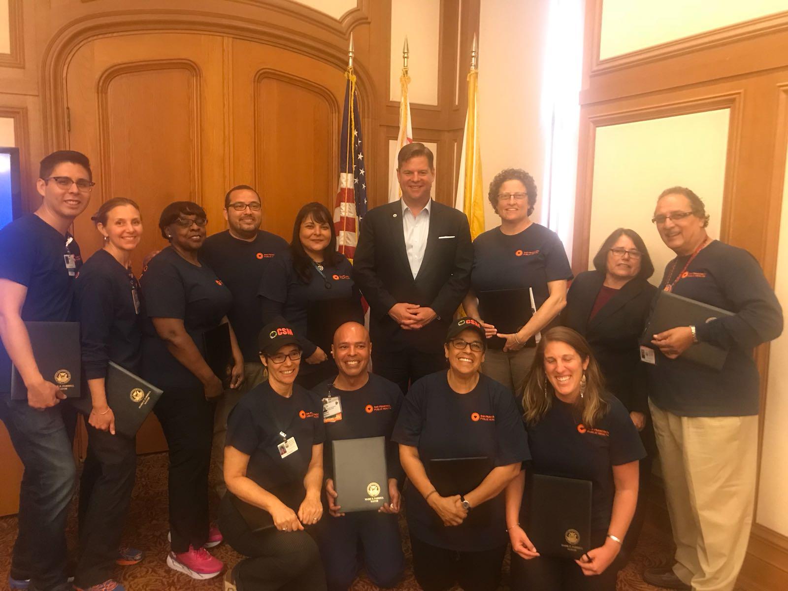 Mayor Farrell DPH staff group photo