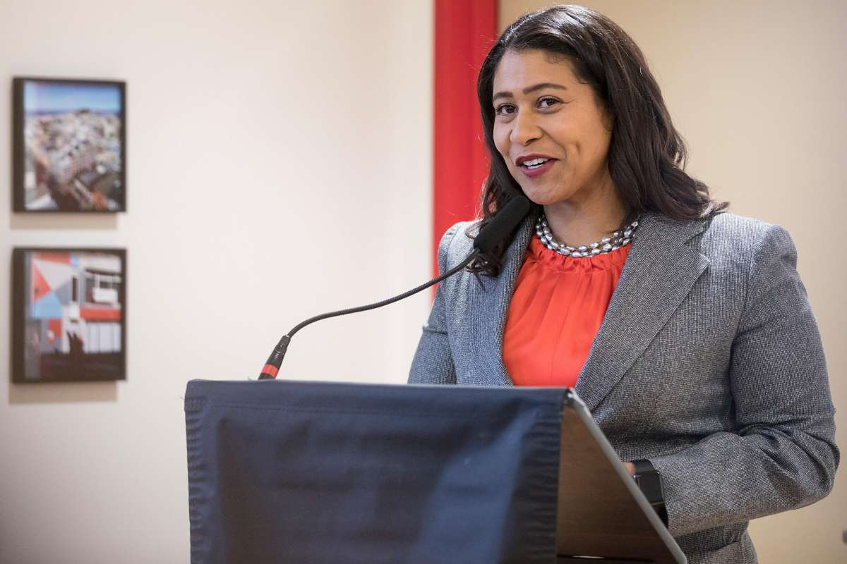 Mayor London Breed delivering remarks at opening of 990 Pacific Ave. development in Chinatown